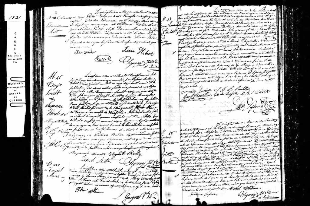 A scan from a book containing a wedding contract from 1821 Quebec.  The contract is hand written in cursive with names in the margins.