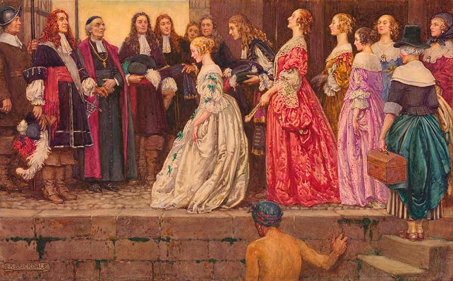 This is a painting by Eleanor Fortescue-Brickdale showing Les Filles du Roi around 1667.  The painting includes women in fancy dresses being presented to the men.