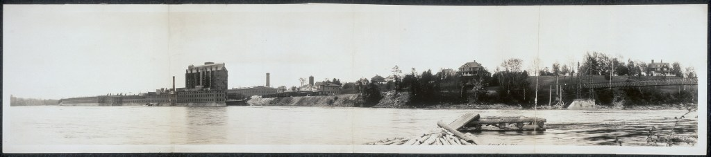 Panoramic photo of the Hollingsworth & Whitney Company paper mill in Waterville, ME.