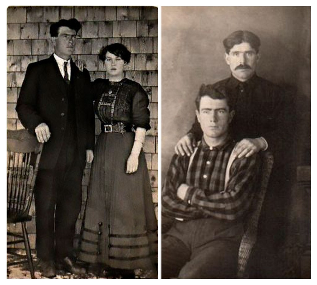 Two family photographs.  The left photo features George and his wife Georgianna. The Right Photo shows George sitting in a chair with his brother Israel behind him.