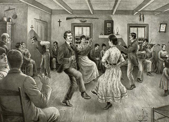 A drawing of people dancing with a man playing the fiddle in the background.