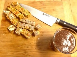 Cutting the oat, almond, coconut bars