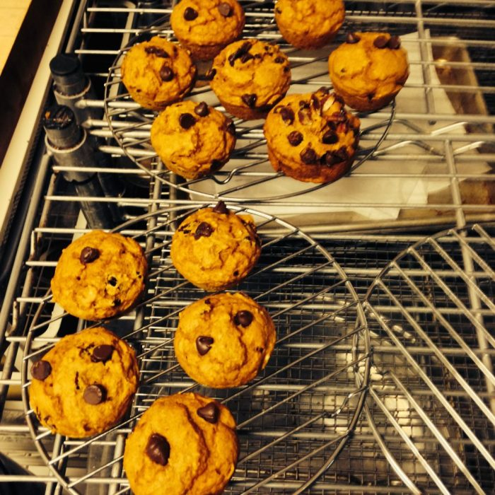 Vegan Spiced Pumpkin Muffins with Chocolate Chips, Cranberries and Pecans