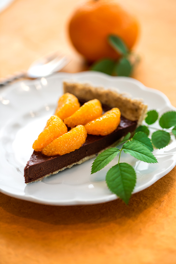 Raw chocolate and mandarin orange tart