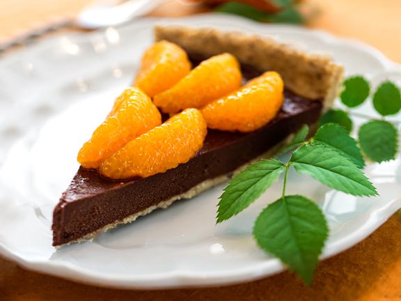 Raw Chocolate Fudge and Mandarin Orange Tart from Vegan Chocolate by Fran Costigan