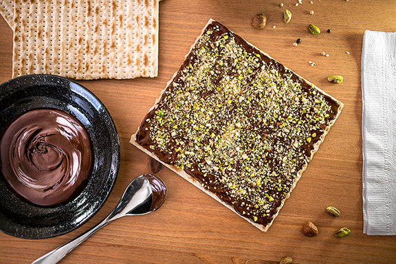 Dukkah-Spiced Chocolate Covered Matzoh