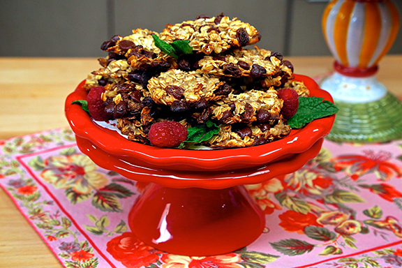 Four-Ingredient Chocolate Chip Oatmeal Cookies from Laura Theodore's Vegan-Ease