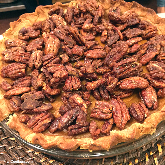 Thanksgiving Vegan Pumpkin Pie with Candied Pecans from Fran Costigan