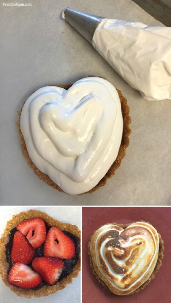 Vegan Meringue Strawberry Heart Tart