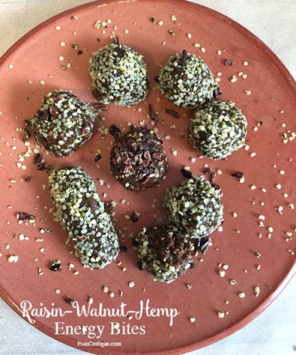 Raw Raisin-Walnut-Hemp Energy Bites - FranCostigan.com