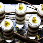 Laurel Anderson's Layered Dark Chocolate Mousse & Amaretto Cream with Pistachio Dust