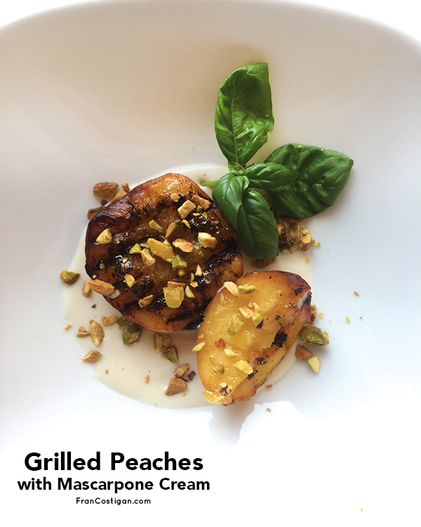 Grilled Peaches with Mascarpone Cream and Pistachios