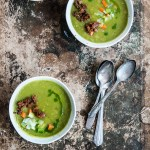 Vegan Pea Soup with Charred Spicy Sausage from Field Roast