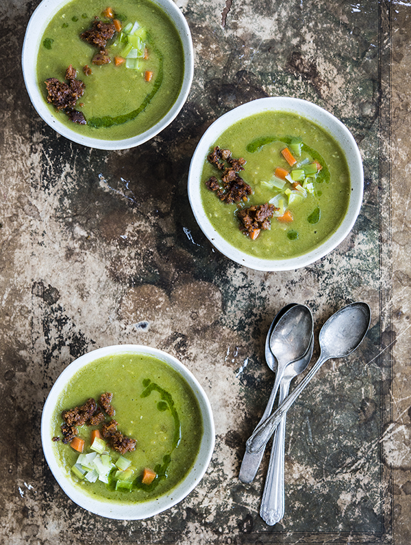 Vegan Pea Soup with Charred Spicy Sausage from the Field Roast Cookbook