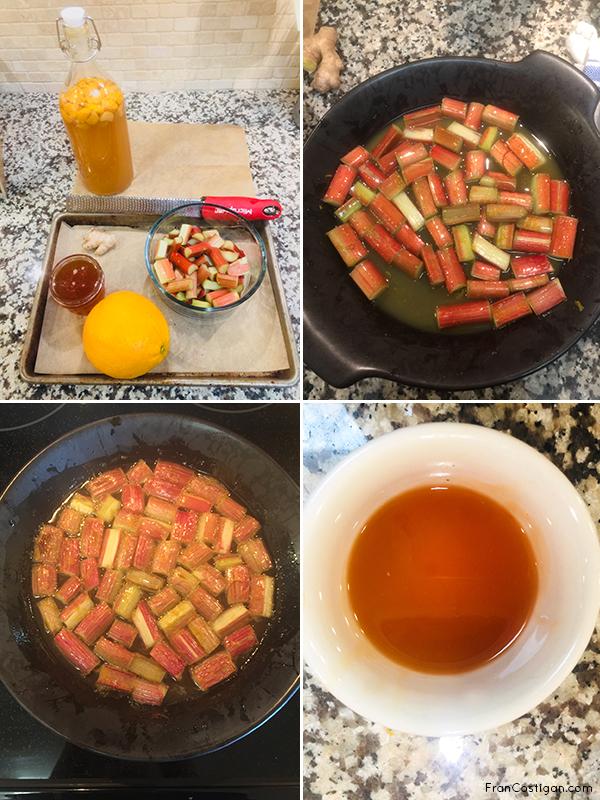 Orange Oven Poached Rhubarb in progress