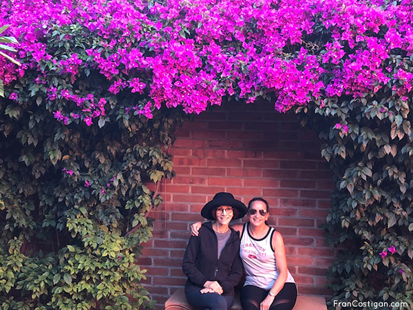 Fran and Randi under the Bouganvilla at Rancho La Puerta