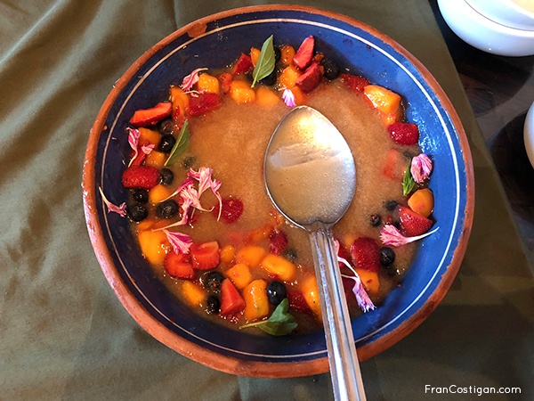 Herb infused Fruit Soup and Fruit Salad