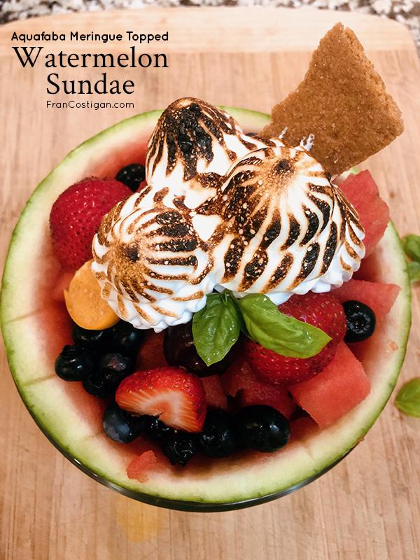 Fran Costigan's Aquafaba Meringue Topped Watermelon Sundae (vegan, gluten-free, egg-free, dairy-free)