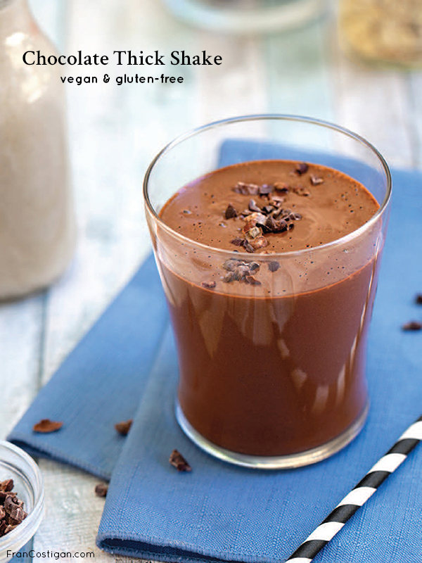 Fran Costigan's vegan Chocolate Thick Shake, which is made from a base of oat and hemp milk, cocoa powder and superfood, antioxidant and flavonoid-rich cacao nibs, is just as satisfying and contains a whole lot of nutrition. #vegan #shake #chocolate