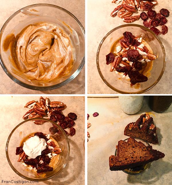 Making a pumpkin pie parfait with pumpkin Butter