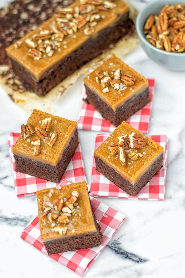 Salted Caramel Brownies with Maple Pecans from Contentedness Cooking