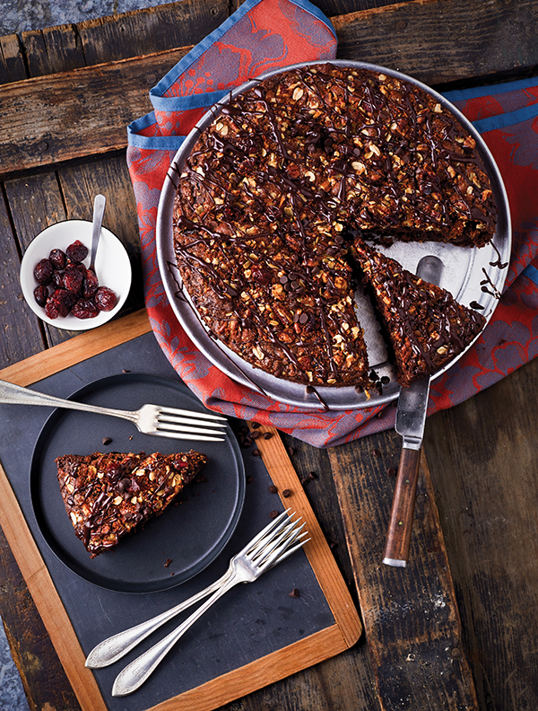 Vegan Chocolate Pecan Cranberry Coffee Cake