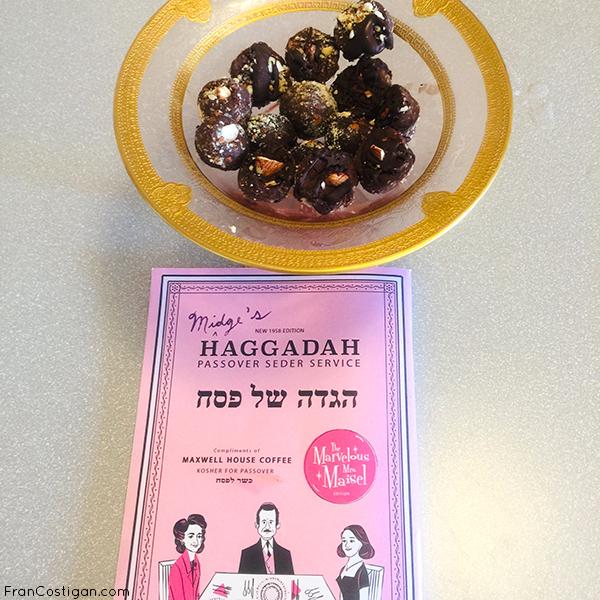 Finished Truffles in Grandma Ida's holiday dish w.Mrs Maisel Haggadah