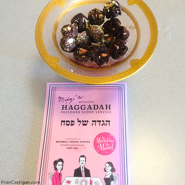 Finished Truffles in Grandma Ida's holiday dish w.Mrs Maisel Haggadah