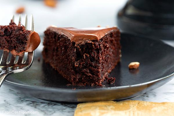 Chocolate Almond Torte slice close up