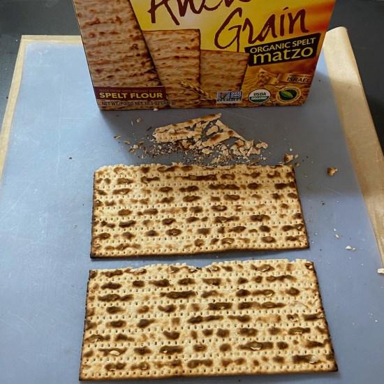 matzah on a cutting board