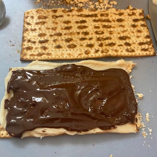 matzah with pastry cream and chocolate