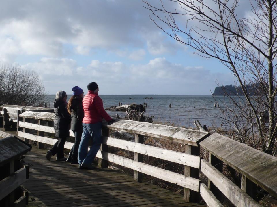 On the boardwalk at Bowerman Basin