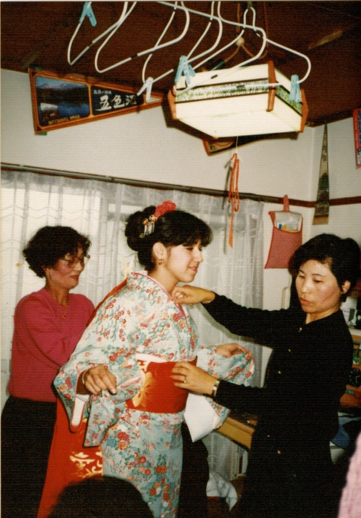 1988, Fran in Kimono.  These ladies bound me so tightly that I could barely breathe!