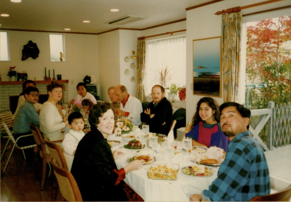 Thanksgiving Dinner at with Margaret and Yuichi Otake 1988.  Margaret is on the left in the foreground.  Next to her is her first of three children, her daughter, Megumi.  Today, Megumi is a married woman!