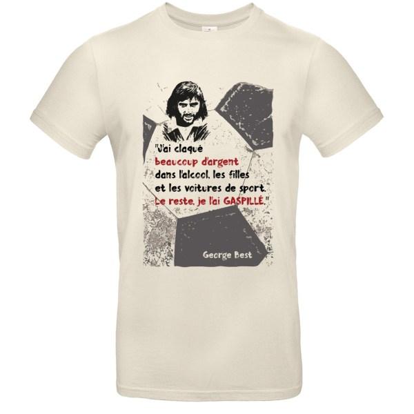 T-shirt citation George Best - Blanc cassé (col rond))
