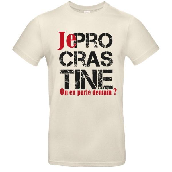 """T-shirt """"Je Procrastine"""" par le Frangotier - Blanc cassé"""