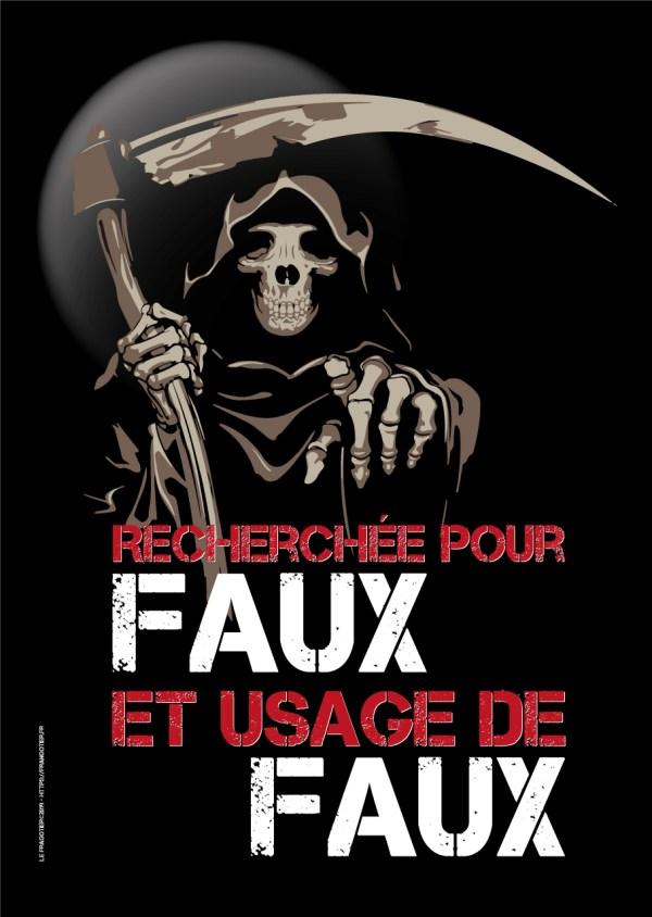 """Poster faucheuse """"Faux et usage de faux"""" by le Frangotier"""