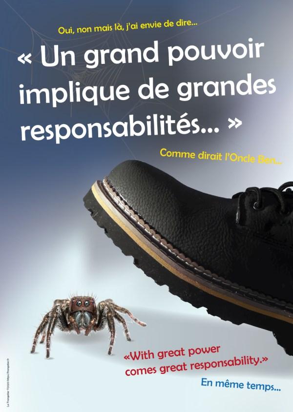 """Poster """"Un grand pouvoir implique de grandes responsabilités"""""""