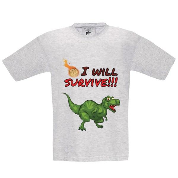 "T-shirt enfant ""I will survive"" dinosaure"