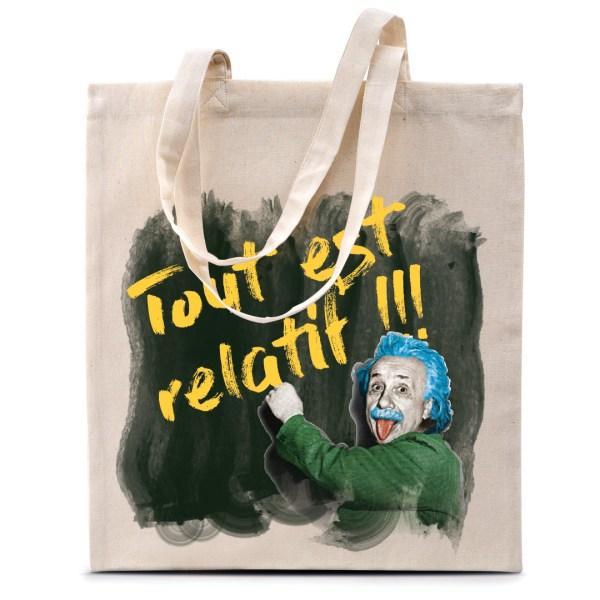 "Tote bag Einstein ""Tout est relatif"""