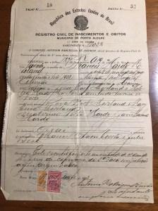 Birth Certificate - Portugese