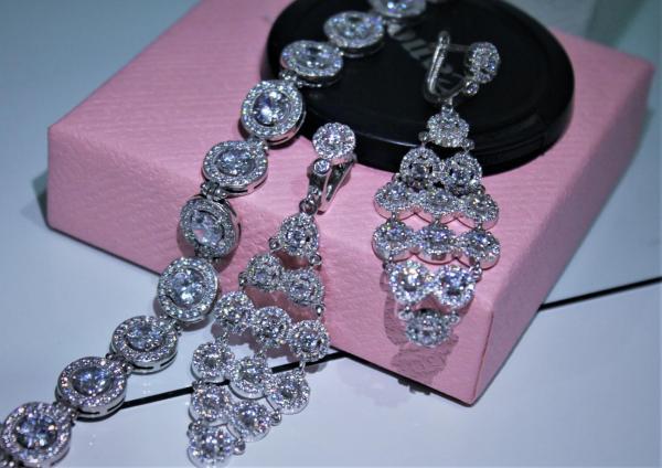 Вечерний комплект\ Комплект для невесты с белым аметистом и цирконами.