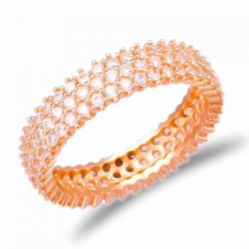 Позолоченное круглое кольцо с белым цирконом