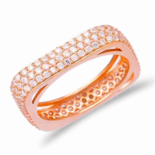 Позолоченное квадратное кольцо Medium с цирконом