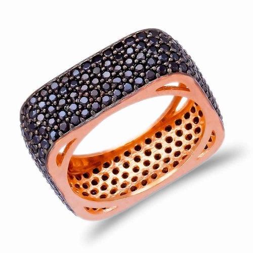 Позолоченное квадратное кольцо с черным цирконом