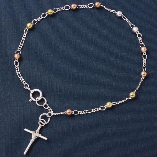wholesale sterling silver 3 tone Rosary 2mm
