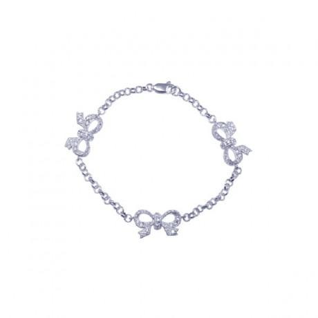 wholesale silver cz ribbon charm bracelet