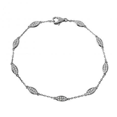 wholesale silver cz teardrop link bracelet
