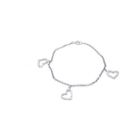 wholesale silver fleur de lis cz bracelet