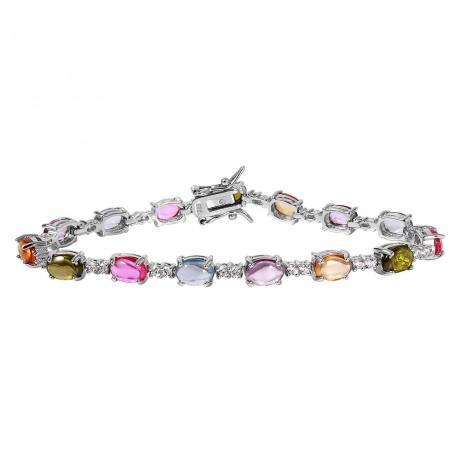 wholesale silver multi color tennis bracelet